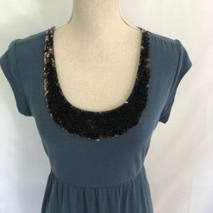 Garnet Hill Sequin Neckline Cotton Blue Dress M